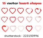 15 heart shapes vector... | Shutterstock .eps vector #223150996