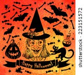 card halloween. alloween card... | Shutterstock .eps vector #223151572