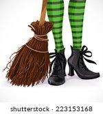 halloween closeup witch legs in ... | Shutterstock .eps vector #223153168