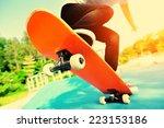 Skateboarding Woman Legs At...