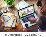 man working with computer life... | Shutterstock . vector #223155742