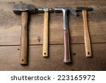 carpentry tools on a wooden... | Shutterstock . vector #223165972