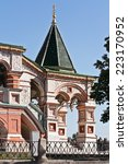 Small photo of RUSSIA, MOSCOW - September 16.2014: Fragment of facade of temple of Vasiliy Beatific. Porch