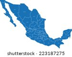 mexico map | Shutterstock .eps vector #223187275