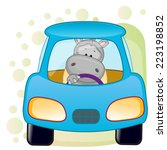 cute hippo is sitting in a car  | Shutterstock .eps vector #223198852
