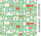 seamless pattern of medical and ... | Shutterstock . vector #223210942