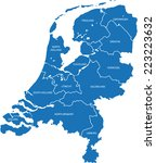 map of the netherlands  | Shutterstock .eps vector #223223632