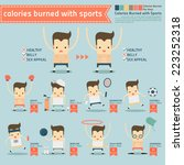 calories burned with sports... | Shutterstock .eps vector #223252318