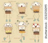 6 stickers coffee with... | Shutterstock .eps vector #223253095