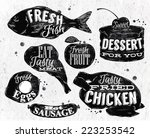 eat symbol in retro vintage... | Shutterstock .eps vector #223253542