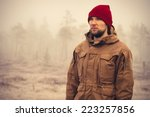 young man wearing winter hat... | Shutterstock . vector #223257856