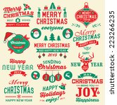 vector set of christmas symbols ... | Shutterstock .eps vector #223266235