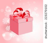 gift with red bow on background ... | Shutterstock .eps vector #223270102