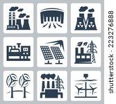 power plants vector icons set ...