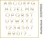 gold alphabet letter  digits... | Shutterstock . vector #223295032