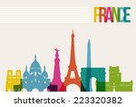 travel france famous landmarks... | Shutterstock .eps vector #223320382