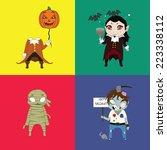 halloween undead characters set | Shutterstock .eps vector #223338112