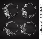 set of floral wreath on the... | Shutterstock .eps vector #223339072