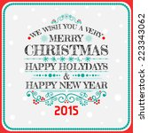 christmas card ornament... | Shutterstock .eps vector #223343062