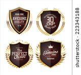 golden premium quality labels  | Shutterstock .eps vector #223343188