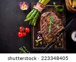 delicious beef steak on wooden... | Shutterstock . vector #223348405