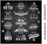 christmas set   labels  emblems ... | Shutterstock .eps vector #223362352