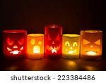 Funny Jack O Lanterns On A Dar...