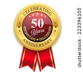 gold 50 years anniversary badge ... | Shutterstock .eps vector #223396105