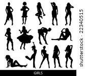 girls silhouettes | Shutterstock .eps vector #22340515