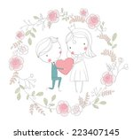 Bride And Groom. Cute Vector...