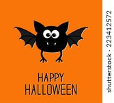 cute cartoon bat. happy... | Shutterstock .eps vector #223412572