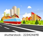 colorful vector city with... | Shutterstock .eps vector #223424698