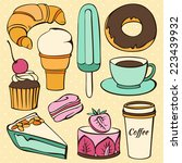 vector set of  decorative sweet ... | Shutterstock .eps vector #223439932