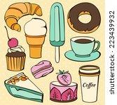 vector set of  decorative sweet ... | Shutterstock .eps vector #223439932