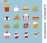 food icons  flat design | Shutterstock .eps vector #223462672