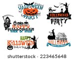 happy halloween posters and... | Shutterstock .eps vector #223465648