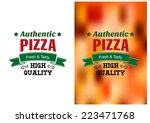two pizza badges or labels with ... | Shutterstock .eps vector #223471768