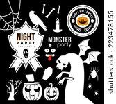 set of halloween party... | Shutterstock .eps vector #223478155