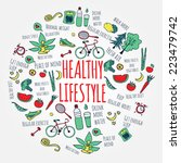 healthy lifestyle concept.... | Shutterstock .eps vector #223479742