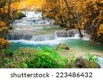 beautiful waterfall in autumn... | Shutterstock . vector #223486432