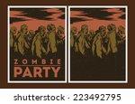 halloween poster. zombie party...   Shutterstock .eps vector #223492795