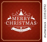 christmas retro typography and... | Shutterstock .eps vector #223512952