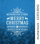 christmas retro typography and... | Shutterstock .eps vector #223513042
