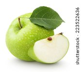 Ripe green apple with leaf and...