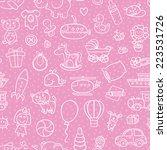baby girl toys seamless pattern.... | Shutterstock .eps vector #223531726