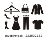 clothes icon set in black color ...