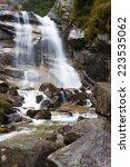 High Beautiful Waterfall On A...