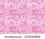seamless doodle medical pattern | Shutterstock .eps vector #223544806