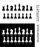 chess icons silhouettes on... | Shutterstock . vector #223552972
