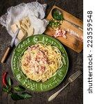 Pasta Carbonara In  Green Plate ...